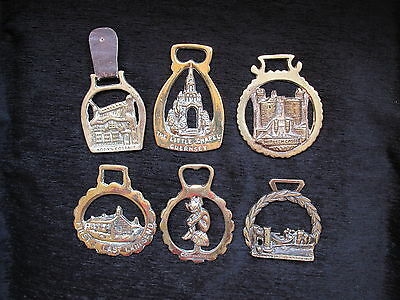 Job Lot Of Six Horse Brasses With Towns