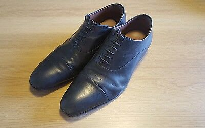 M&S Marks and Spencer Mens Black Leather Capped Oxford Shoes UK 11 RRP £70
