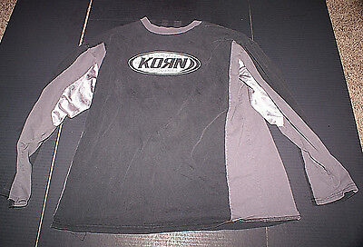 "KORN 1990 Vintage LONG SLEEVE  Large Shirt 22""x28"" Mesh Arm Pits Lightly Used NM"
