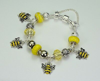 Bumble bee charm bracelet (European style) yellow glass beads, silver spacers