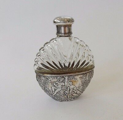 Antique Solid Silver Cut Glass Decorative Embossed Hip Flask Hallmarked