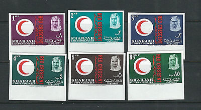 SHARJAH 1963 RED CROSS set complete (Sc 22-27 IMPERF) VF MNH