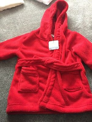 6-12 Months Red Dressing Gown/ Bath Robe Baby