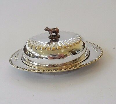 Pretty Antique Silver Plate Butter Dish with Ornamental Dairy Cow Handle