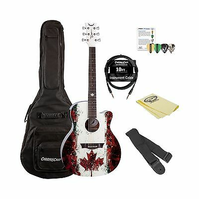 Dean Guitars AXS CANADA Acoustic Electric Guitar with Custom Maple Leaf Graph...