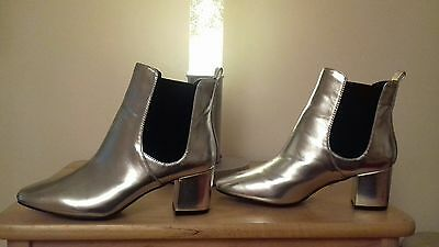 River Island Silver Block Heel Ankle Boots **New ** 6