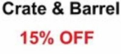 Crate and Barrel 15% Off Your Order (No exclusions, works on furniture)--FAST!
