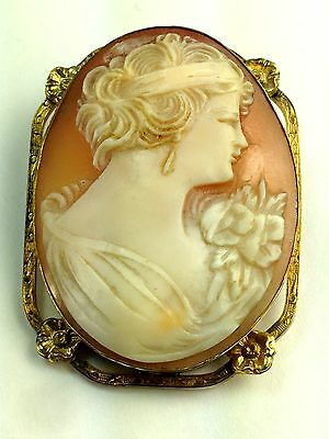 Vintage Art Deco  1920's Flapper With Flowers Gold Filled Cameo Brooch Pin