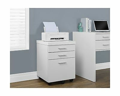 Monarch Specialties I 7048 White Hollow-Core 3 Drawer File Cabinet on Castors