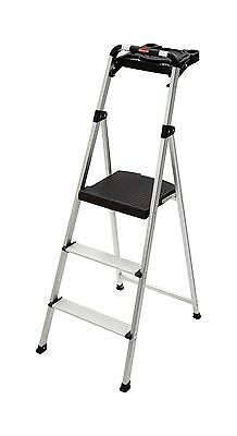 Rubbermaid RM-SLA3-T 3-Step Ultra Light Aluminum Step Stool with Project Tray...