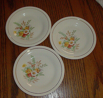 Vintage Edwin M Knowles China Semi Vitreous USA Daisy Flower  Set 3 Saucers 6 in