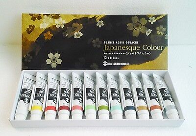 Turner Acryl Gouache Japanesque Colour 11ml × 12 Colors -  Japan Original Box