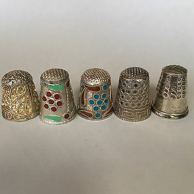 Collection 5 Antique Greek Portuguese Enamel Silver Thimbles Sewing Mother Pearl