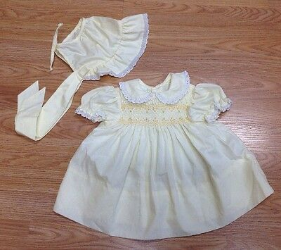 Vintage Baby Dress & Bonnet Polly Flinders Yellow 12 M Smocked Bodice /Lace E441