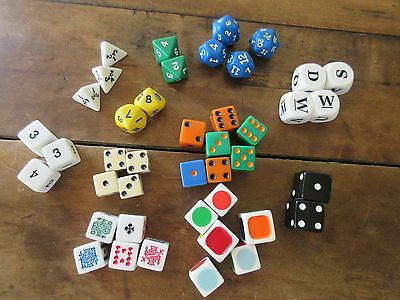 Lot Of 42 Multi Sided Dice Of All Colors And Kinds And Games