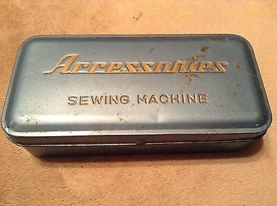Vintage Blue Sewing Machine Accessory Accessories Tin Box Metal