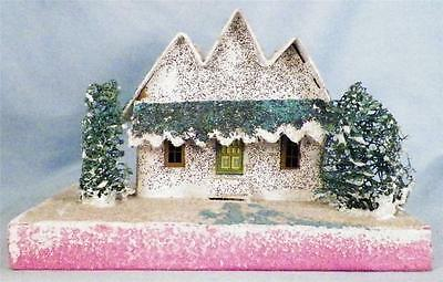 Vintage Christmas House Train Yard Putz Japan White 3 Gable Green Roof Bushes