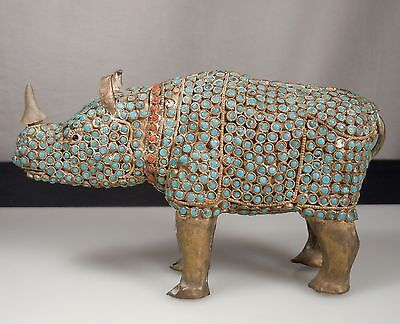 Vintage Turquoise Coral & Brass RHINO Figurine -Nepal/Tibet