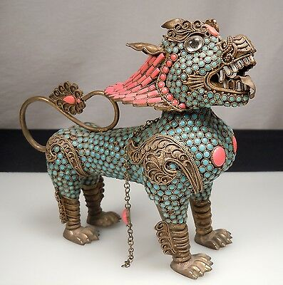 Vintage Turquoise Coral & Brass DRAGON Figurine Wine Pot -Nepal/Tibet