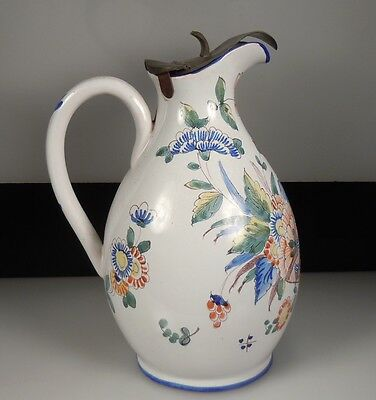 Antique French Faience Pitcher w/ Pewter Lid
