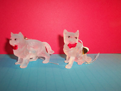 2 Silvestri Frosted Acrylic Glass Look CAT Kitten Feline ORNAMENTS (#888)