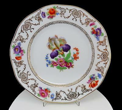 "Erphila Czechoslovakia #erp3 Purple Floral Gold Trim 10 7/8"" Dinner Plate"