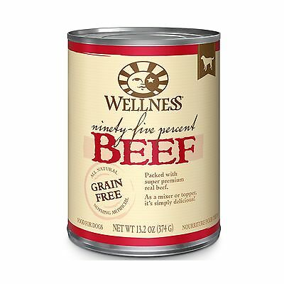 Wellness 95% Beef Natural Wet Grain Free Canned Dog Food 13.2-Ounce Can (Pack...