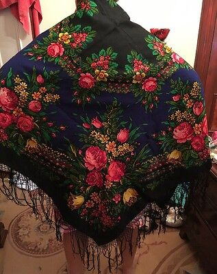 Antique Vintage Russian Victorian Piano Shawl Flower Rose Tulip Wool Scarf Wrap