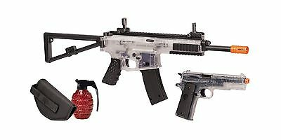 Crosman Commando Airsoft Spring Powered Rifle and Pistol Kit Clear/Black