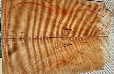 """Curly Redwood 17x23x1/4"""" guitar bass craft exotic figured wood top  luthier 4"""