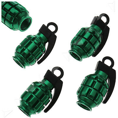 4Pcs Tyre Wheel Rim Stem Air Valve Caps Cover Car Truck Bike Grenade SUV Green