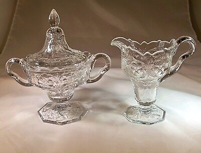 McKEE GLASS CO. ROCK CRYSTAL CLEAR FOOTED CREAMER & SUGAR BOWL SET WITH LID!