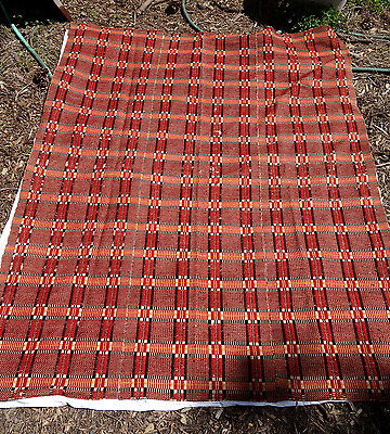 Antique Woven Overshot Coverlet, Red, Black & Yellow on Ecru Background