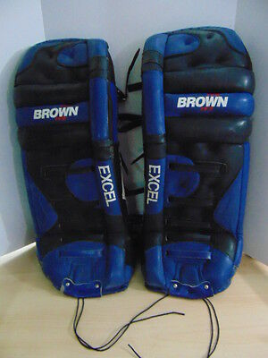 Goalie Ice Hockey Shin Brown Excel JB206 Professional Series Custom Leather 31""