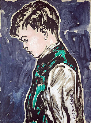 "Fabulous DAVID BROMLEY Acrylic on Canvas ""Thoughtful Boy"""
