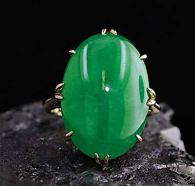 GIA CERTIFIED 21.89ct A GRADE JADEITE IMPERIAL JADE UNTREATED 18K GOLD RING