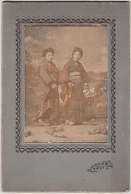Antique Photo / Two Young Women in Kimonos / Japanese / c. 1915