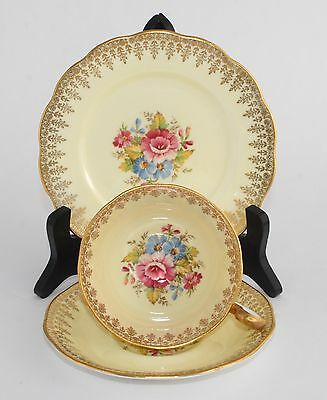 Superb Vintage Queen Anne Trio 4919 - Yellow, Floral Sprays and Gold Filigree