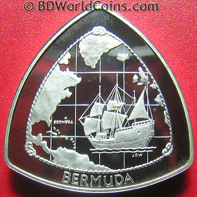 "1998 Bermuda $1 Silver Proof Ship ""deliverance"" Triangular Coin Box+Coa Rare!"