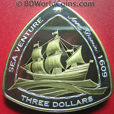 "2006 BERMUDA $3 SILVER PROOF GOLD GILT ""SEA VENTURE"" 1609 SHIPWRECK w/COA RARE!"