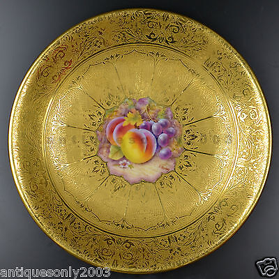 ROYAL WORCESTER Gold Encrusted Fruit Hand Painted Porcelain Plate P. STANLEY