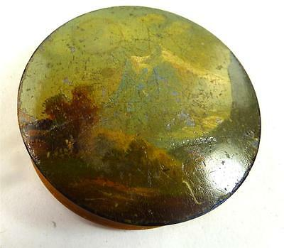 Antique Circular Box Painted With Swiss Mountain Scene Grindelwald