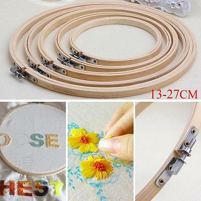 Wooden Cross Stitch Machine Embroidery Hoops Ring Bamboo Sewing Tools 13-27CM^SX