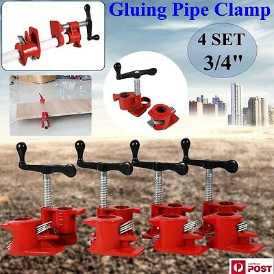 "4 Set 3/4"" Industrial Wood Gluing Pipe Clamp Set Heavy Duty Woodworking Cast"