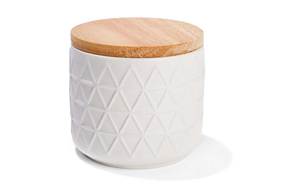 White Embossed Canister with Oak Wood Lid - Kitchen Food / Storage Jar