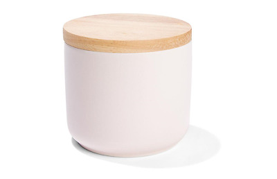 Small Pink Canister with Oak Wood Lid - Kitchen Food / Storage Jar