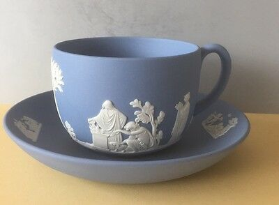 Wedgwood Blue Jasper Jasperware Tea Cup  & Saucer 1975 Unglazed