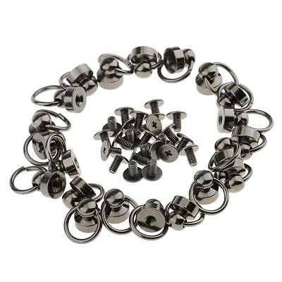 20x Pacifier Ring Rivets Studs for Leather Bag Decoration Crafts 9mm Gray