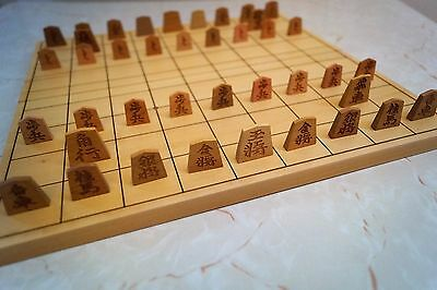 """Japanese chess, Shogi 11.5"""" foldable fine carved wooden board and playing pieces"""