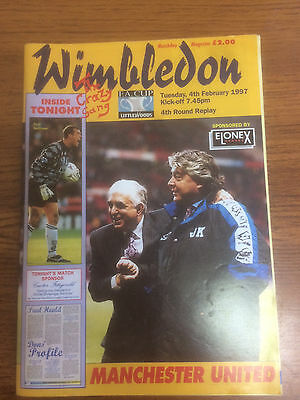 Wimbledon FC v Manchester United programme - FA Cup 4th round replay - 1997